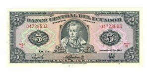Ecuador 5 Sucres - banknote -  Year 1988 - UNC