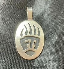 Vintage Native American Sterling Silver Claw Engraved Pendant Signed N