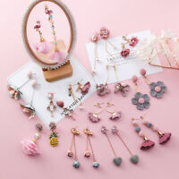 Trendy Japanese Korean Cute Earrings Simple Pink Fabric Flower Dangle Earrings