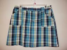 Christopher & Banks Womens Skort Skirt 16 XL Blue Plaid Front Zip  C099