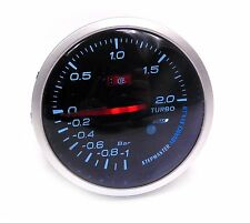 60mm Universal Smoked Face Turbo Boost gauge -1  to 2 Bar Pressure white light