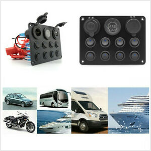 12V Multifunction 8 Gang Switch Panel Rocker Switch Fit For RV Car Boat Truck