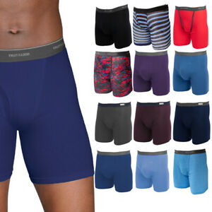 12pk Fruit Of The Loom Mens Cotton Boxer Briefs With Fly Comfortable Tag Free