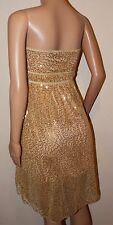VICKY MARTIN gold sequin strapless dress BNWT 8 10 12 RRP£175 party wedding prom