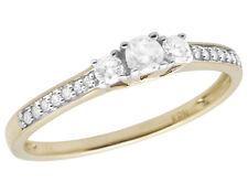 Ladies 10K Yellow Gold 3-Stone Real Diamond Engagement Anniversary Ring 0.25CT