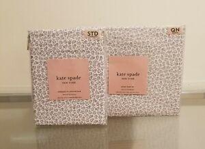 Kate Spade Queen Sheet Set & 2 Additional Pillow Cases Grey Flowers NEW