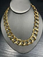 """Vintage Quality Bright Gold  Chunky Link Large Chain Necklace 18"""" Hook Clasp"""