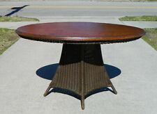 Wicker Table Mahogany Top circa 1910