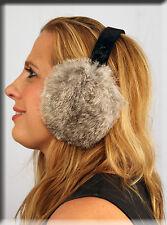 New Grey Rabbit Fur Ear Muffs Velvet Band - Efurs4less