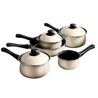 5 Piece Ecocook Non Stick Kitchen Steel Saucepan & Lids Milk Pan Frying Pan Set