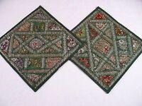 2 Indian Sari Kundan Beaded Green Throw Pillows Cushion