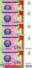 LOT, Uzbekistan, 5 x 500 Sum, 1999, Ex-USSR P-81, UNC