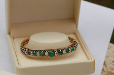 PROMO  RARE BRACELET ANCIEN JONC  RIGIDE   OR 18 K /ARGENT/ DIAMANTS / EMERAUDES