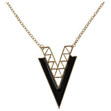 V Shape Alloy Long ChaIn ChArms Fashion Chic  Triangle NeckLace Black