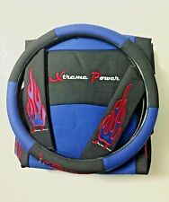CAR SEAT COVERS Synthetic Leather RACING BLUE BLACK in 11 Pieces