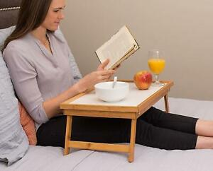 Hot Adjustable Bed Tray Lap Desk Serving Table Foldable Legs Bamboo Notebook US