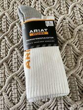 3 Pair Ariat Work Premium Ringspun Cotton Crew Socks Unisex Large White NIP