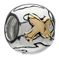 SPECIAL RETIRED NEW Chamilia Charm Sterling Silver and 14k Gold World Peace Bead