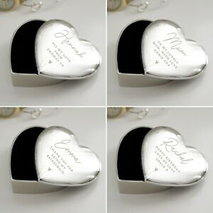 Personalised Name and Message Silver Heart Trinket Box Birthday Christmas Gifts