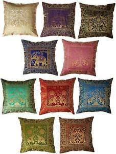 10 PC Sofa Pillow Cover Indian Silk Cushion Cover Bedroom Decorative Cushion
