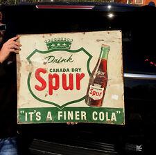 Vintage 1946 Canada Dry Spur Soda Pop Metal Sign W/ Bottle & Shield Logo 26X23