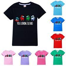 Kids Boys Girls Among Us T-shirt Impostor Crewmate Gaming Top Gift 100% Cotton