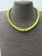 Fluorescent Neon Rainbow Woven Chunky Gold Necklace Retro Festival Jewellery