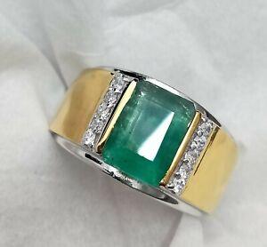 Natural Emerald & Diamond Gem Stone 18k Solid Yellow Gold Men's Ring