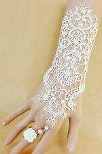 White Bridal Beaded Embroidered Lace Bracelet with Ring