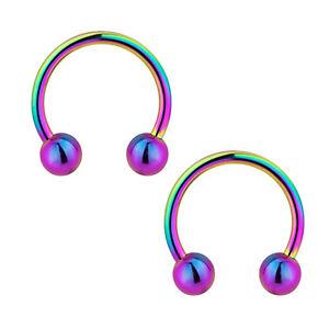"PAIR TINY 18G 1/4"" GOLD BLACK BLUE RAINBOW STEEL HORSESHOE SEPTUM EAR NOSE RING"