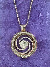 Sterlina mi Milano necklace/pendant y titular / Rose Gold Crystal swirl/moneda