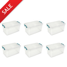 6 PACK Large Storage Containers W/ Lids Clear Plastic Latch Box Stackable Totes