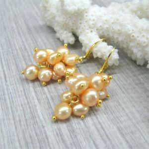 7-8mm Orange baroque pearl earrings 18K gold Dangle AAA natural south sea DIY
