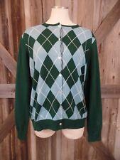 NWT LANDS END Blue/Green Argyle Button Front 100% Cotton Cardigan Sweater Size L