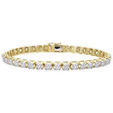 "10K Yellow Gold Round Diamond Prong Set 6mm Cluster Statement 9"" Bracelet 3 CT."