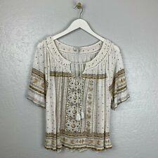 Lucky Brand Size L Tile Split Neck Top Cream Tan Brown Short Sleeve Slub Knit