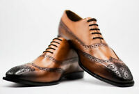 Mens Handmade Shoes Brown Leather Oxford Brogue Wingtip Lace Up Formal Wear Boot
