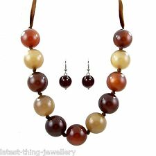 Amber Brown Necklace Earring Set  Earth Tone Bead Ribbon Design