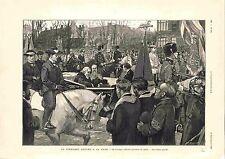 Président Paul Kruger à la Haye Cortège Officiel Gare des Pays-Bas GRAVURE 1900