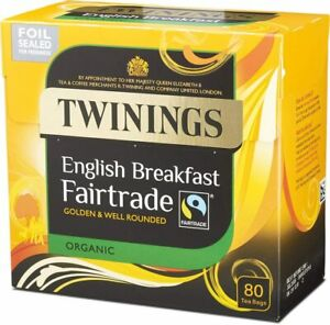 Twinings Organic Fairtrade English Breakfast 320 Tea Bags Multipack 4 x 80 Bags
