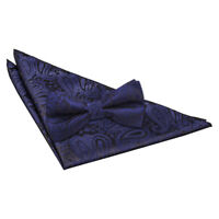 Navy Blue Mens Pre-Tied Bow Tie Hanky Wedding Set Woven Floral Paisley by DQT