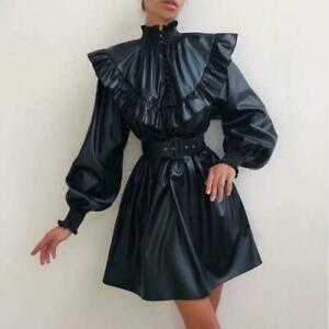 Womens Fashion PU Leather Falbala Strand Collar Puff Sleeve Belt Short Dress SKG