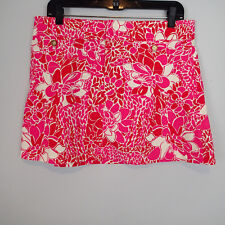 Lilly PULITZER Skirt Sz 8 REd Pink WHITE Floral Cotton Spandex Corduroy E3