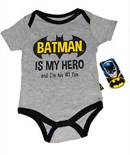 LAST ONE~BATMAN BABY CREEPER~SIZE 6/9 MO~BATMAN IS MY HERO AND I'M HIS #1 FAN