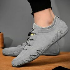 Mens Casual Real Genuine Cow Leather Shoes Soft Loafers Driving Shoe Lace Up New