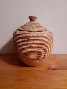Eskimo, Yup'ik-Inupiat Coiled Basket with Lid