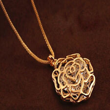 Women Gold Hollow Rose Flower Crystal Rhinestone Pendant Long Chain Necklace New
