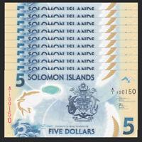 Lot 10 PCS, Salomonen / Solomon Islands 5 Dollars, ND(2019), P-NEW, Polymer, UNC