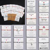 Lucky Card Turtle Braid Bracelet Silver Friendship Adjustable Woman Men Gifts