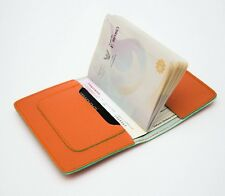 NEW SUNSHINE ORANGE TANGERINE LEATHER PASSPORT HOLDER BAG WALLET COVER TREND HOT